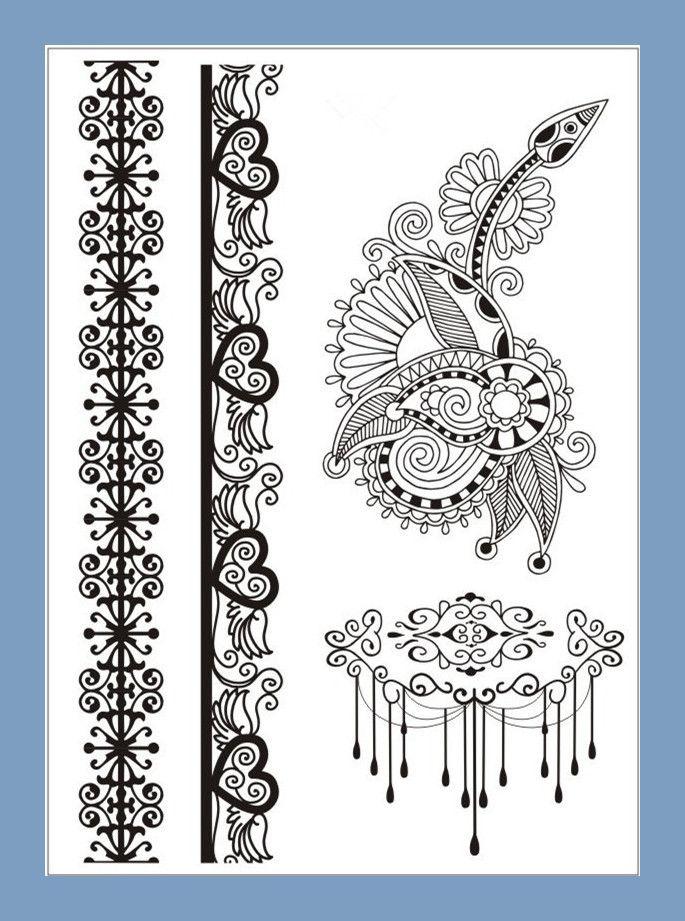 Модные Переводные Татуировки Наклейки Новый Индийский Арабский Хна Тату Вставьте Черные Кружева Дизайн Свадьбы Невеста Колье Татуировки