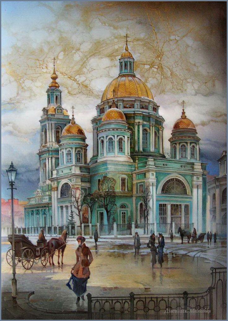 Michail Shelukhin. Lacquer art from Fedoskino. Богоявленский кафедральный собор в Елохове.