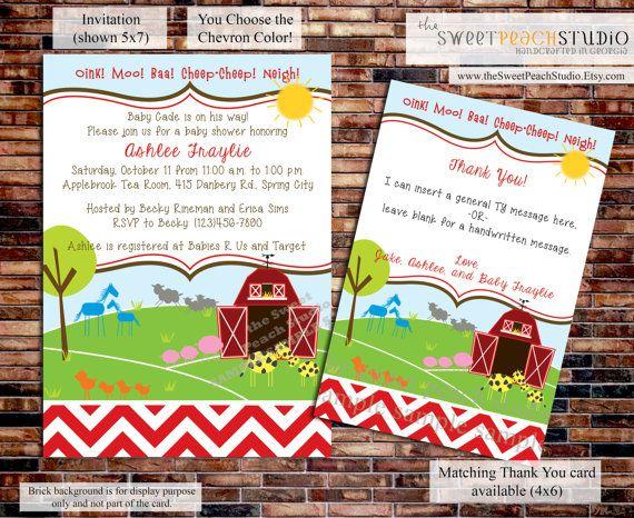 Barn Yard Baby Shower Invitation  PRINTABLE by theSweetPeachStudio, $14.00