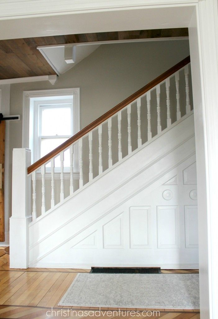 White & wood staircase. Just love the old home character!