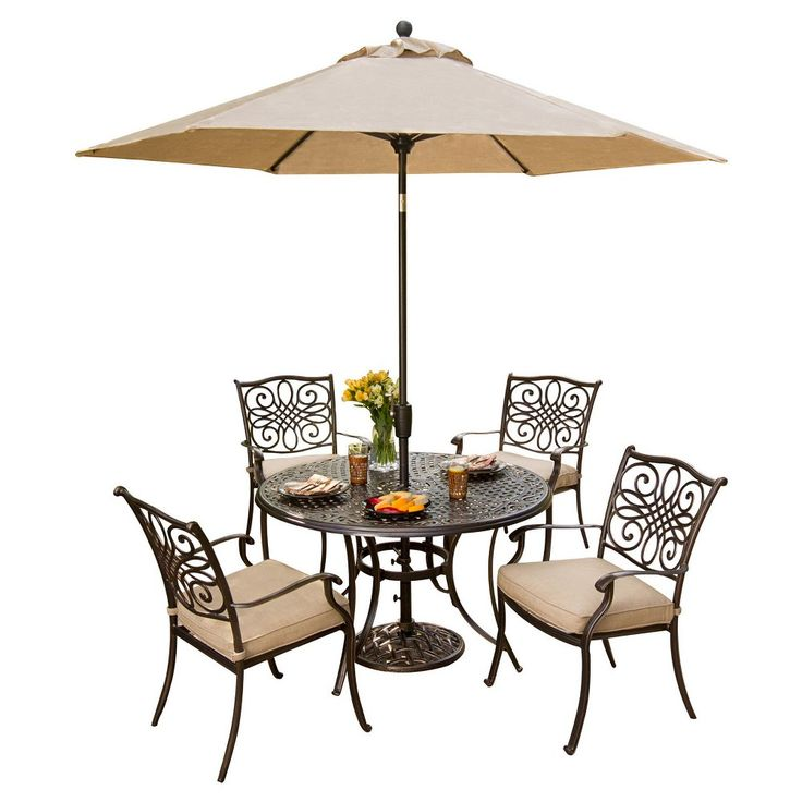 Hanover Outdoor Furniture Traditions 5 Pc. Dining Set Of 4 Aluminum Cast  Dining Chairs,