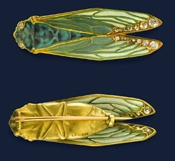 René Lalique cicada brooch, glass and gold.