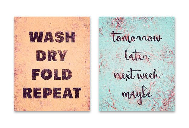 Laundry room set of 2 prints, wash dry fold repeat, laundry room decor, laundry room rules, typography print, laundry room signs, aqua coral by FineArtLab on Etsy