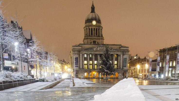 Nottingham's Council House in the snow