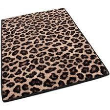 Leopard print throw rug.