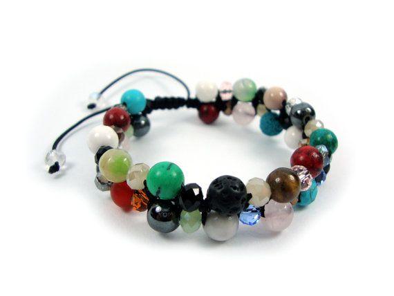 FREE SHIPPING Mixed Natural Stones Handmade Greek Adjustable Bracelet Double Row & Crystal Stones, Lava Coral Turquoise Hematite Onyx Jasper on Etsy, 35,00€