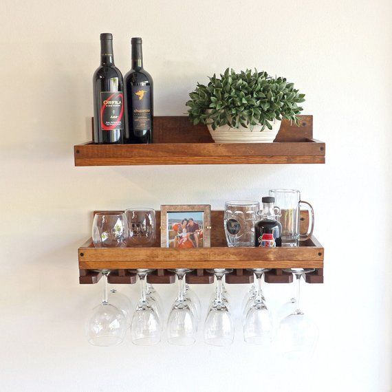 10 Deep Rustic Wine Rack Shelves Wall Mounted Shelf Etsy Glass Shelves Decor Wine Rack Shelf Wine Glass Shelf