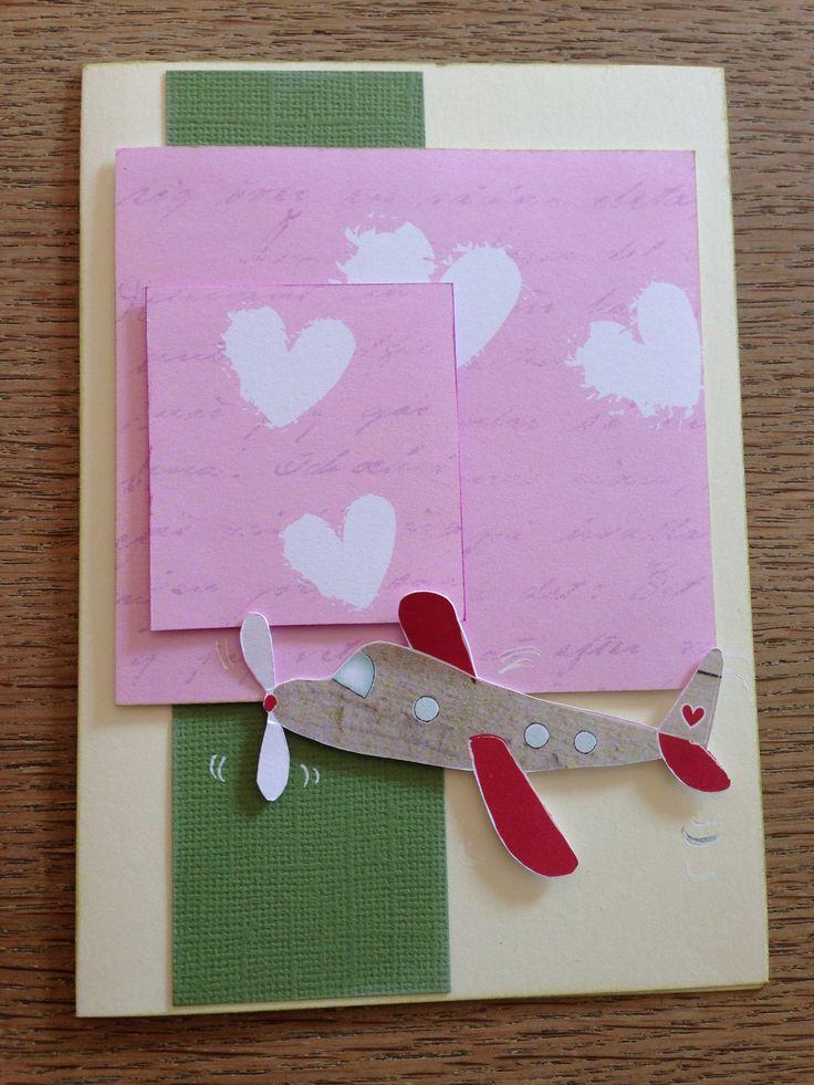Håndlavet kort med flyvemaskine. Homemade card with plane