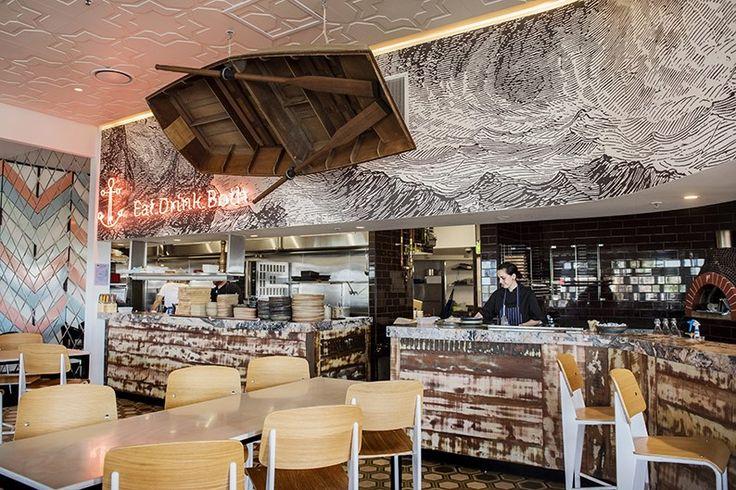 boatshed Cairns, restaurant design by myriaddesign  #interiordesign #restaurantdesign #cairns #neon #timber