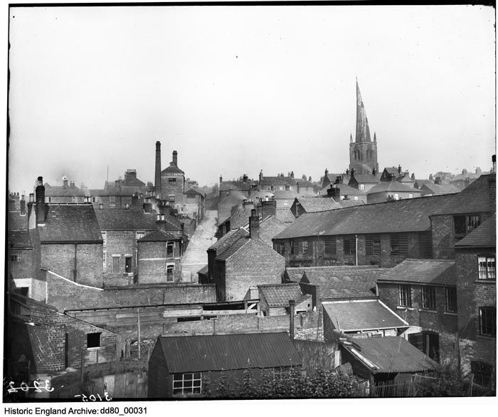 DD80/00031 A view looking across the rooftops towards Spa Lane and the spire of St Mary and All Saints' Church Place:Chesterfield, Derbyshire.  Date: Sep 1889 Photographer: London Midland and Scottish Railway