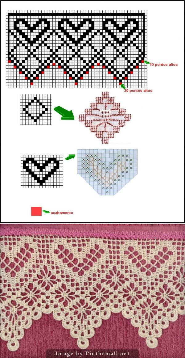 Filet crochet lace edging: spider and hearts ~~ http://miriacrochesepinturas.blogspot.com/search/label/BARRADOS%20DE%20CROCH%C3%8A%20COM%20CORA%C3%87%C3%95ES