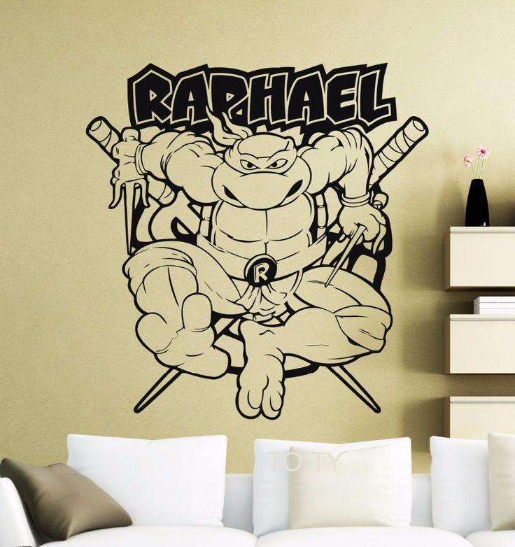 Raphael Wall Sticker Turtles Mutant Ninja Vinyl Decal Home Interior Decoration Retro Cartoon Poster Nursery Kids Bedroom Mural  #Affiliate