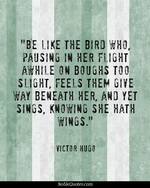 """Be like the bird who, pausing in her flight awhile on boughs too slight, feels them give way beneath her, and yet sings, knowing she hath wings."" -Victor Hugo"
