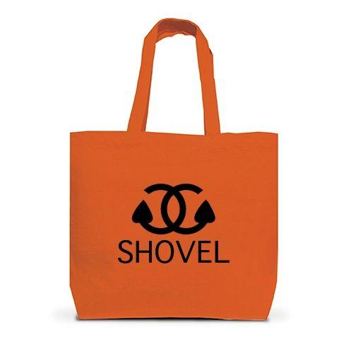 硬級ブランドシャベル トートバッグL(オレンジ):シャネルのパロディですbyち畳工房:ちょっと笑えるパロディと猫がモチーフの商品です