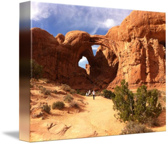 """""""Double Arch Arches Canyon"""" by Anne Berry-Smith, Adelaide // Arches canyon was amazing with numerous are hes similar to this, worn by wind and rain over the centuries // Imagekind.com -- Buy stunning fine art prints, framed prints and canvas prints directly from independent working artists and photographers."""