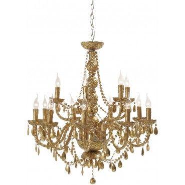 Comme dans les plus beaux #palais Véniciens ce #lustre très baroque provoquera l'enthousiasme de vos convives. Avec son style revisité ce luminaire doré apportera beaucoup de brillance à votre intérieurs.  Lustre Gioiello Cristal Doré 14 bras Kare #Design