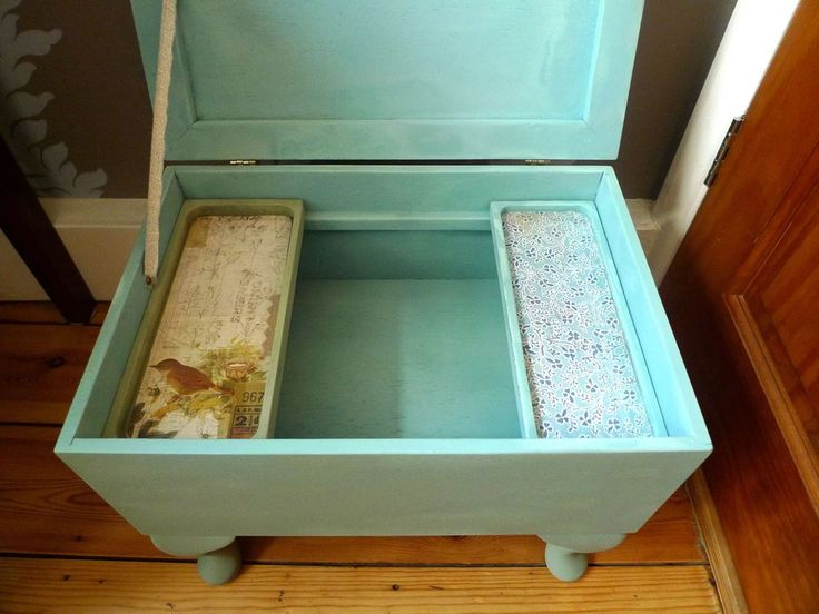 Pale Turquoise Pinty Plus Spray Paint used to decorate the inside of a sewing box