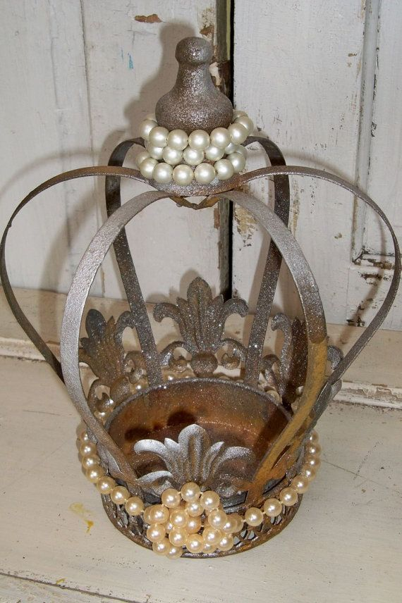 Large Decorative Metal Crown Painted Shimmer Bronze Accented Pearls Home Decor Anita Spero