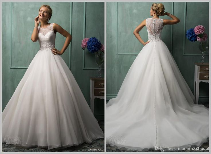 Wholesale A-Line Wedding Dresses - Buy 2014 Sheer Illusion Back Lace Wedding Gowns Amelia Sposa White Bateau Appliques Covered Button Organza Sweep Train Wedding Dresses 2014, $187.98 | DHgate