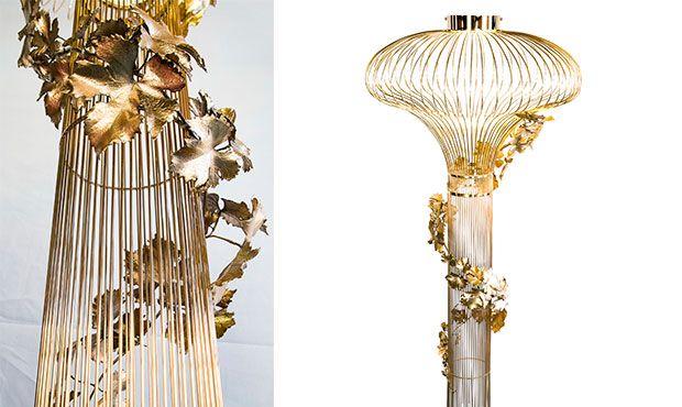 COLECCIÓN VIGNE Lámpara creada a partir de la reproducción de la materia orgánica, ramas y hojas de vid, fundidas a la cera perdida. Obras de arte exclusivas para iluminar cada espacio.