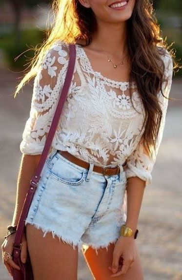 Cute summer outfit with the waisted shorts   and lace top.