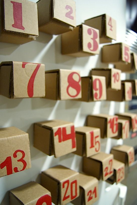 Advent Calendar from upcycled cardboard; labor intensive but virtually free!  I might look for some pre-made boxes for this... Great idea ~ msut try! #ecrafty