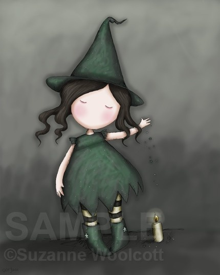 WITCH - candle - black / grey / green / yellow