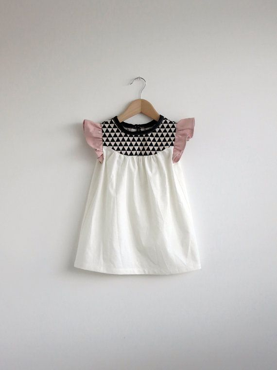 girls' cotton dress with black and white detail by swallowsreturn, $34.00