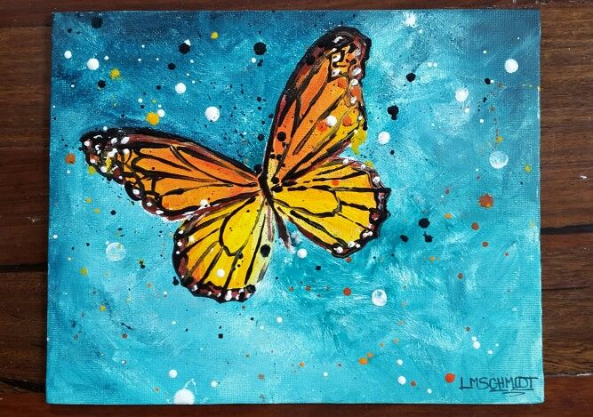 Monarch butterfly painting by Lisa Schmidt , acryl on canvas