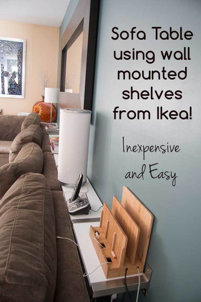 50 IKEA Hacks - IKEA shelves turned sofa table hack from Supernova Wife. This shelf idea could work for me and the wasted space between the wall and couch because of the heater
