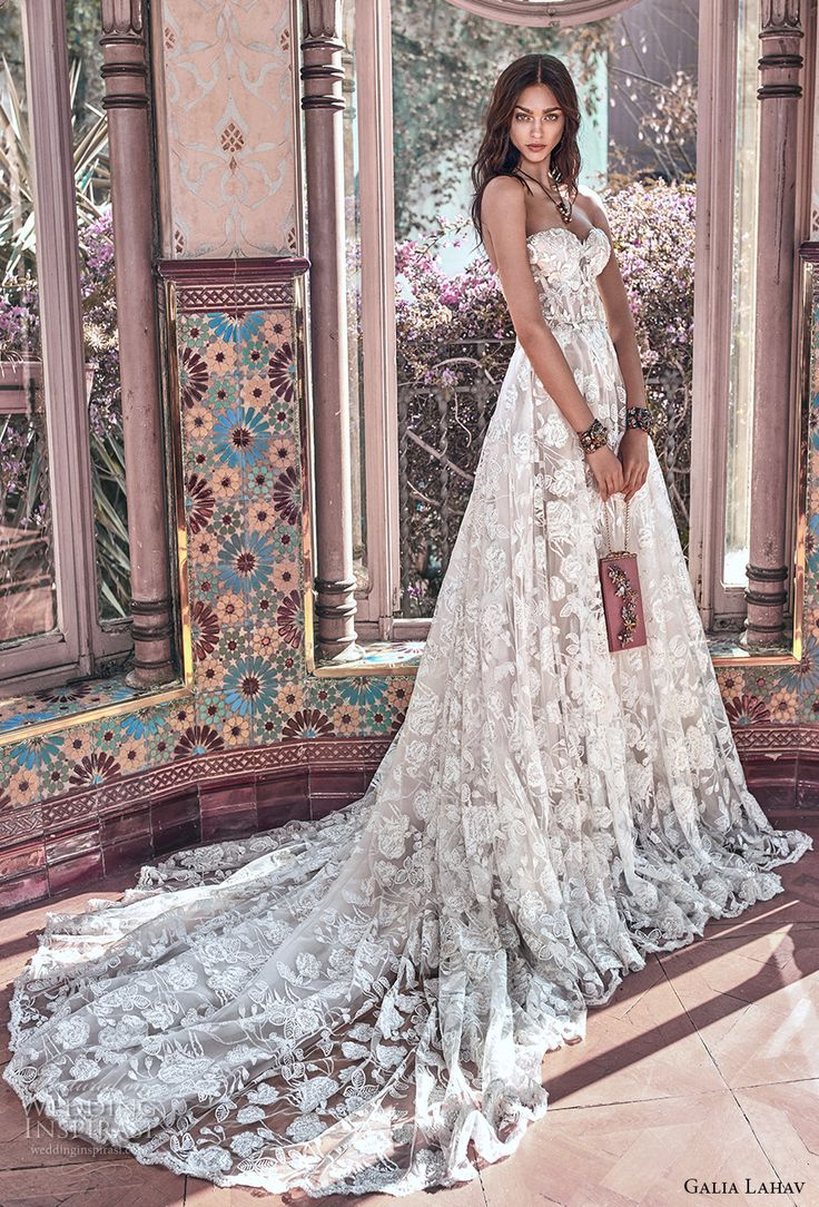 galia lahav spring 2018 bridal strapless sweetheart neckline full embellishment romantic princess a  line wedding dress mid back chapel train (georgia) mv -- Galia Lahav Spring 2018 Wedding Dresses