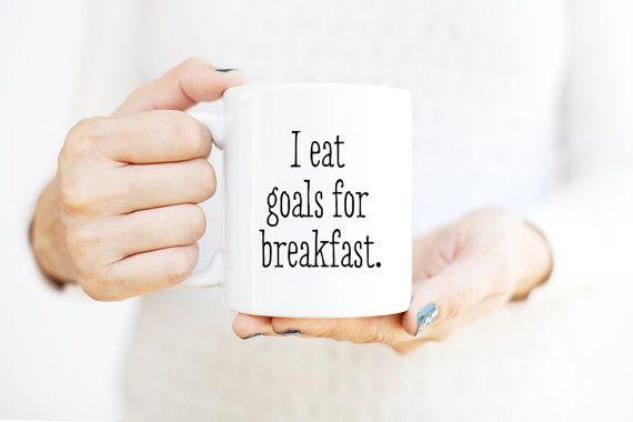 Grappige mokken | Graduatiegift voor haar | Inspirerende mok | Motivationele mok | Coffee Mugs met gezegden | Ik eet doelen voor het ontbijt