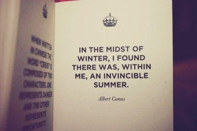 Surviving, optimism: Winter, Inspiration, Quotes, Favorite Quote, Invincible Summer, Wisdom, Invinciblesummer, Albert Camus