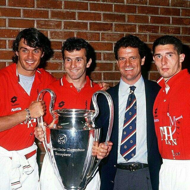 Paolo Maldini, Dejan Savicevic, Fabio Capello and Daniele Massaro with Champions League won in 1994