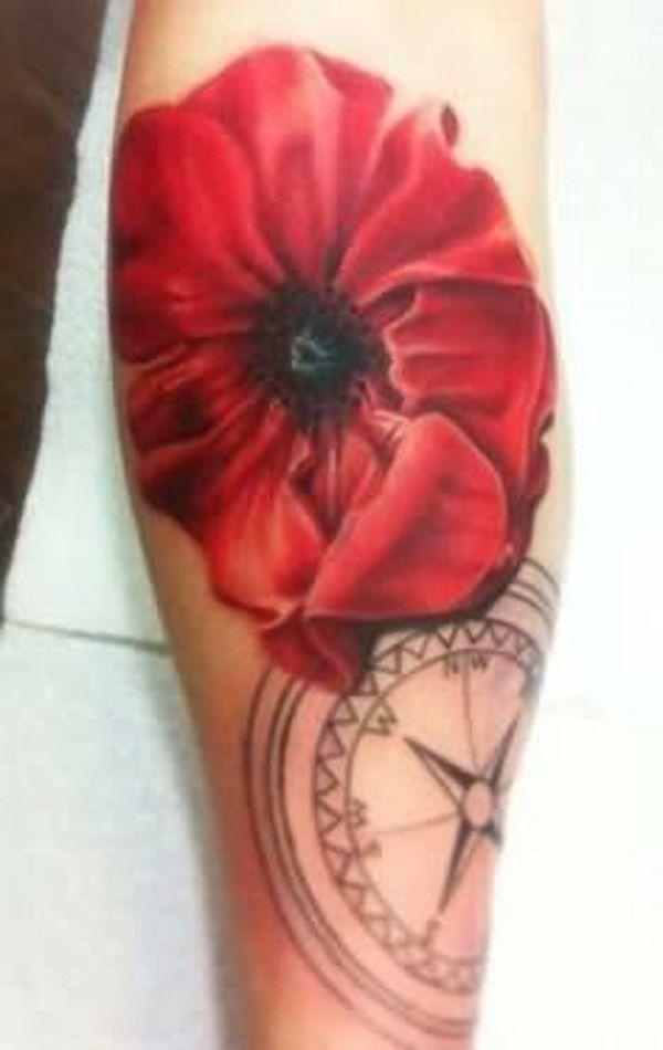 poppy flower tattoo 28 - 70 Poppy Flower Tattoo Ideas <3