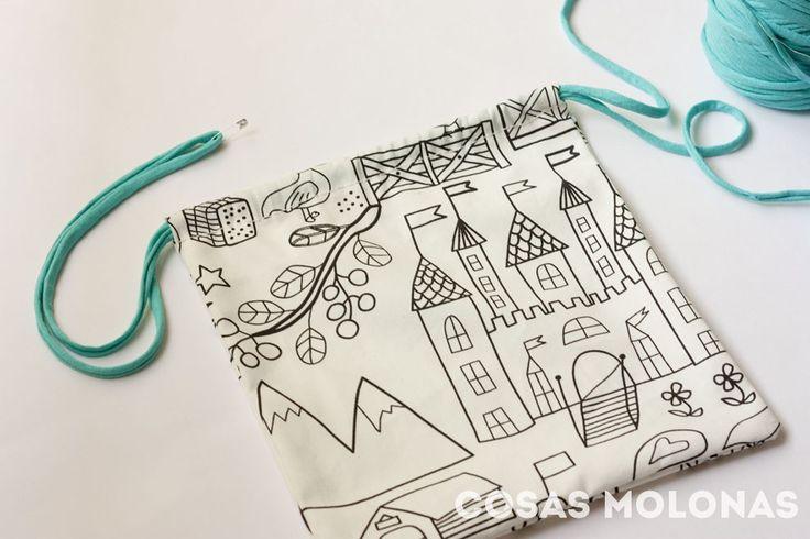 DIY vuelta al cole: bolsa de tela para la comida                                                                                                                                                     Más
