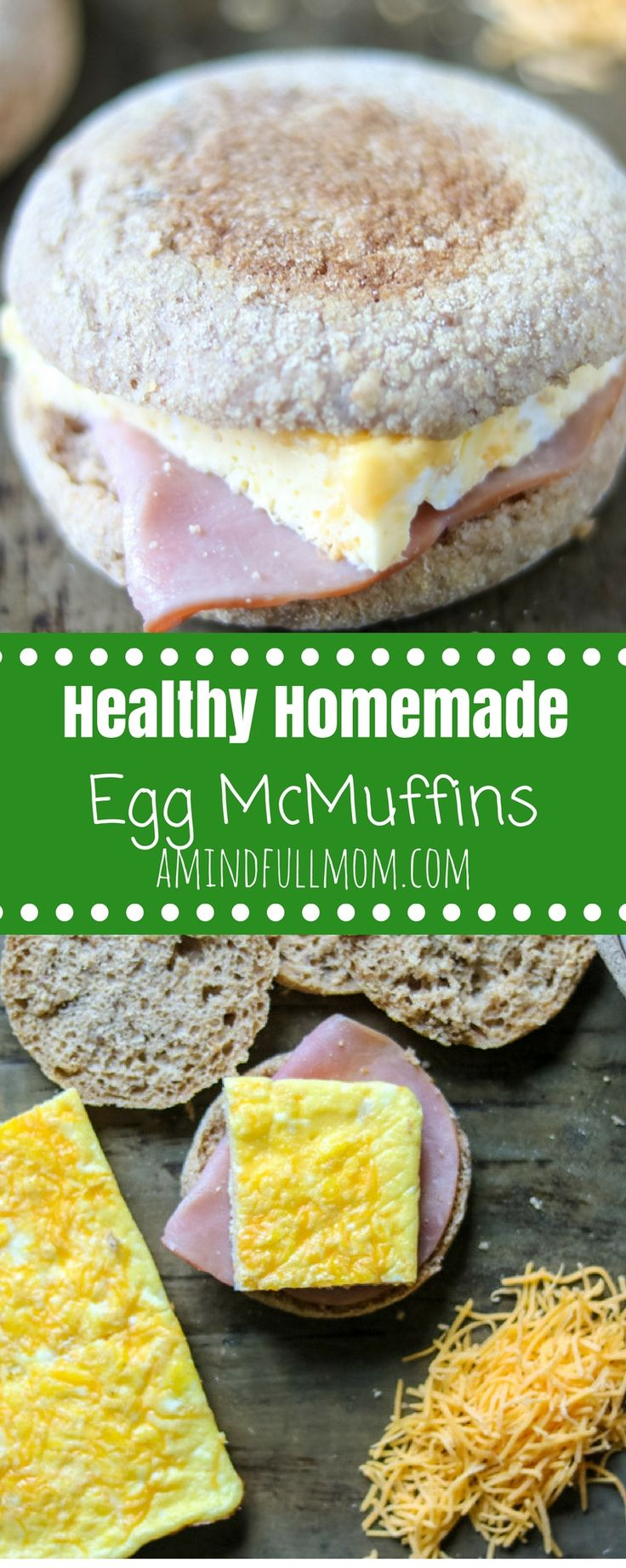 Healthy Homemade Egg McMuffin Sandwiches: Ham and egg breakfast sandwiches come together easily with a sheet pan hack for cooking eggs. Make ahead and freeze for an easy, wholesome on-the-go breakfast and skip the drive-thru permanently. The Cheesy Whole Wheat Egg Sandwiches are perfect for a crowd or for make-ahead recipe. #breakfast #healthybreakfast #eggs via @amindfullmom