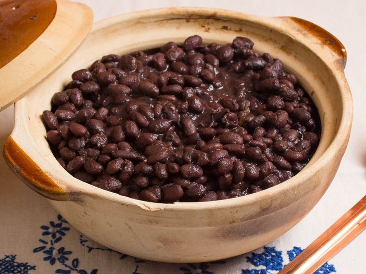 Sunday lazy black-beans: start with dry beans and cook on stove top with 2onion halves and 6-8 garlic cloves. Boil in enough water to cover and simmer 3 hours till creamy.
