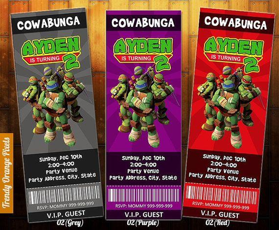 PRINTABLE Ninja Tortugas invitación por TrendyOrangePixels en Etsy