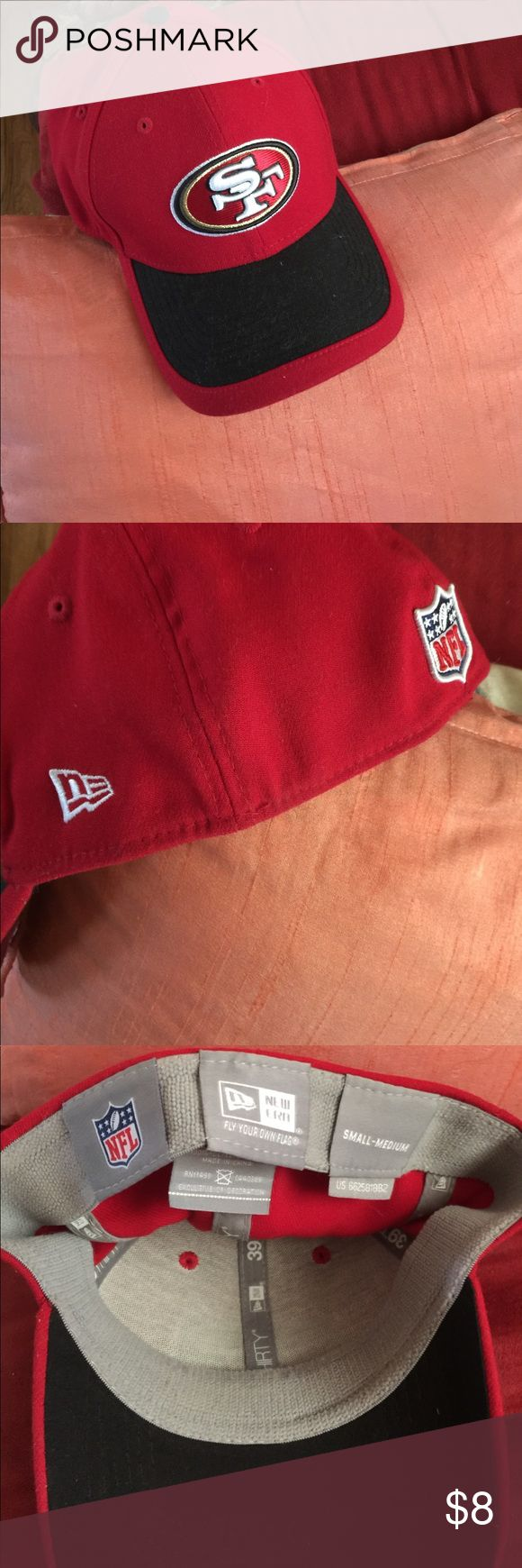 San Francisco 49er football Cap Never Worn For NINER FANS, Good quality elastic band true logo cap purchased at a game in their Shoppe NFL-New Era Accessories Hats