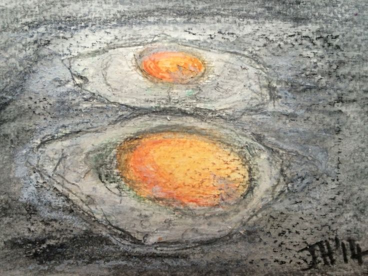 Jo Hannah. Egg 7. Fried Eggs. Watercolour pencil and Oil Pastel.