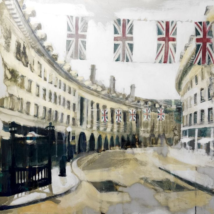 'Regent Street 2012 II' Original acrylic on gesso painting. London. Olympic 2012. Flags. Architecture. Union Jack. Road. Capital. UK. England. Great Britain. British. Patriotic. Art. Copyright Camilla Dowse www.camilladowse.co.uk