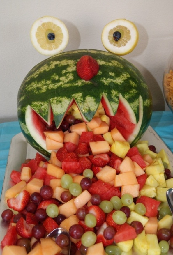 Fruit display monster party fruit salad food monster watermelon