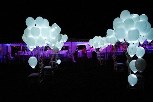Awesome Outdoor Wedding Send-Off! Light LED balloons! #wedding #sendoff #balloons #LED #nighttime #outdoors #weddingplanning http://www.mybigdaycompany.com/weddings.html