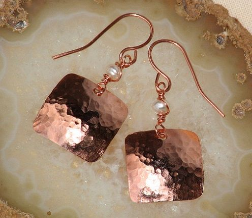 Hammered Copper Earrings Square with Pearl Artisan Handmade, $25 | OwlHollowStudio - Jewelry on ArtFire