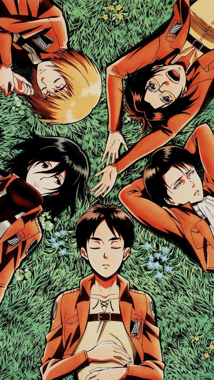 Eren, Mikasa, Levi, Armin & Hange Shingeky, Titanes
