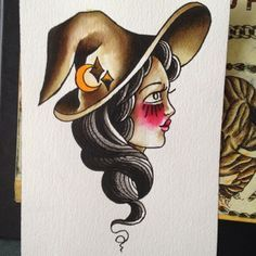 traditional witch tattoo - this! Like the traditional style chick but could never picture how to get her but this is beautiful!