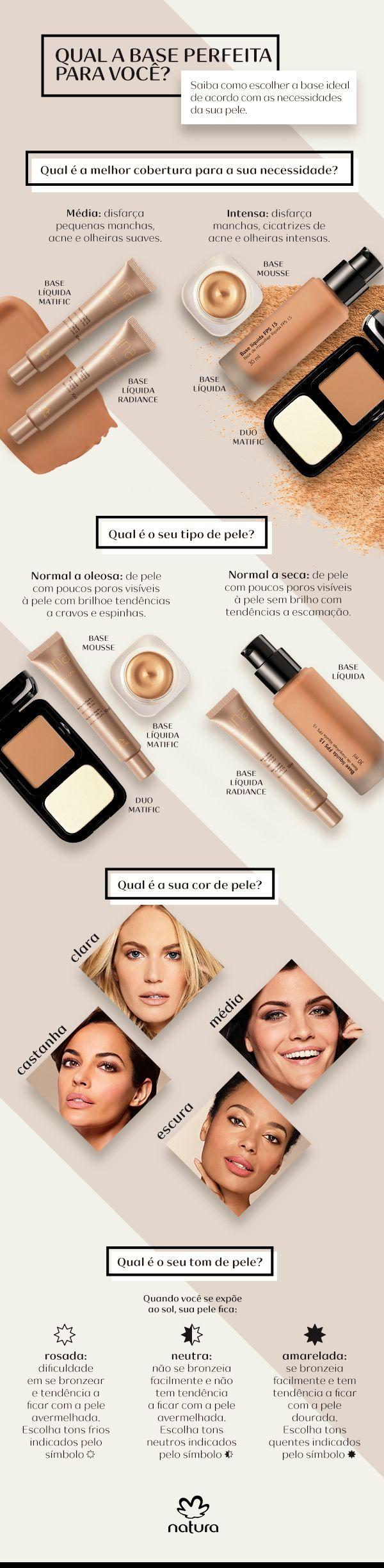 Escolher a base certa para sua pele pode ser gerar muitas dúvidas. Por isso, preparamos um tutorial de como escolher a sua seguindo essas quatro perguntas.