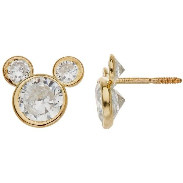 Disney S Mickey Mouse Cubic Zirconia 14k Gold Stud Earrings Women 60 Liked On Polyvore Featuring Jewelry Yellow Cz