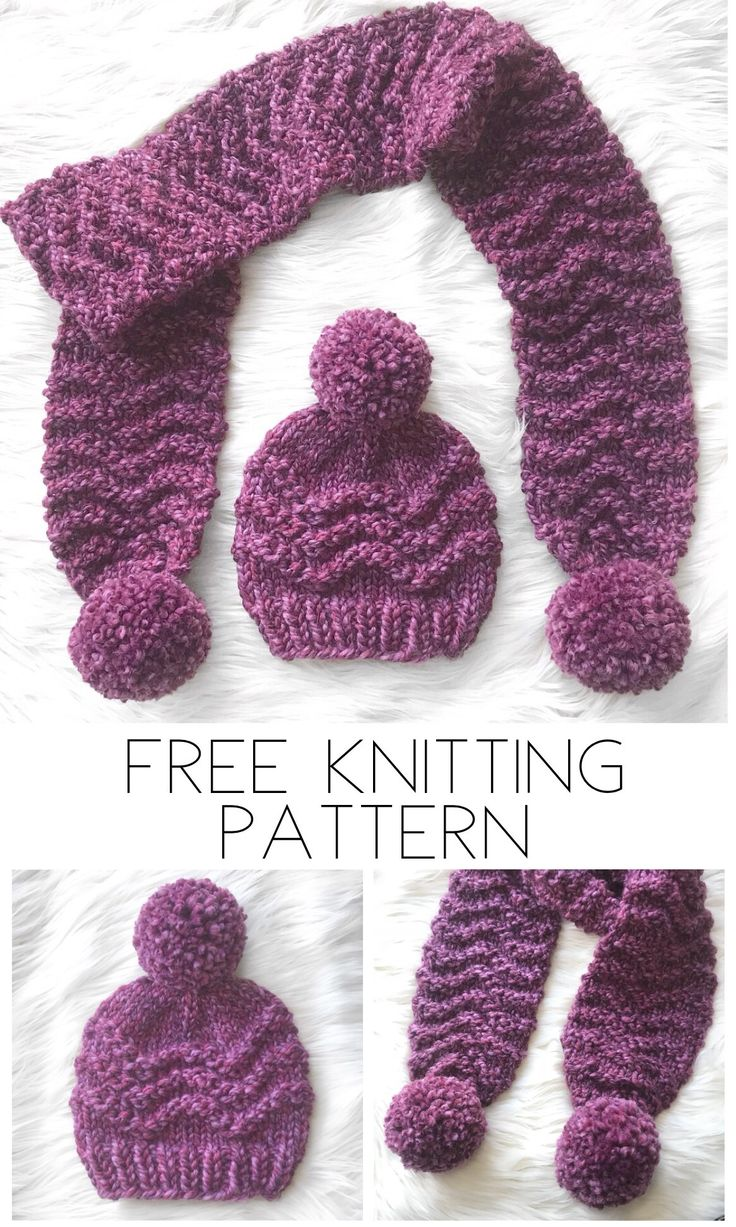 Free chunky knitting pattern for the zig zag beanie and scarf
